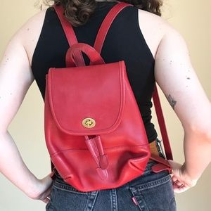 Vintage Coach Red Leather Backpack
